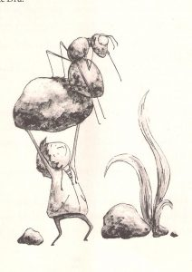 Vaivos Šabrauskaitės iliustracijoje - pagrindiniai knygos veikėjai.