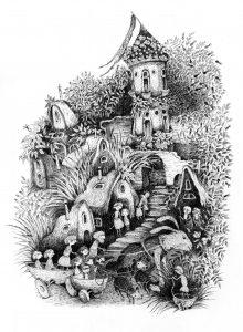 """Iliustracija iš pirmojo Nacionalinio vaikų literatūros konkurso laureatės R. Baltrušytės knygos """"Kalvėnų miesto paslaptis"""""""