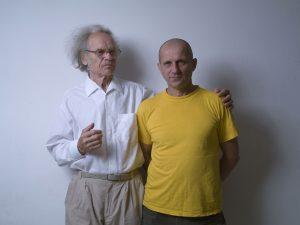 Profesorius Aloyzas Toleikis ir Petras Rakštikas. 2011 metai. Fotogravo Vilmantas Dambrauskas