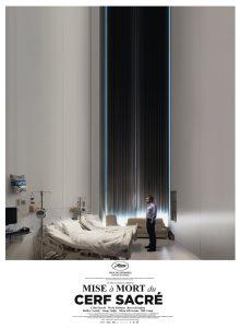 """""""Šventojo elnio žudymas"""". Filmo afiša Prancūzijos kino teatruose."""