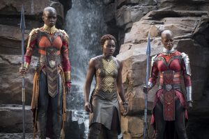 Marvel Studios' BLACK PANTHER..L to R: Okoye (Danai Gurira), Nakia (Lupita Nyong'o) and Ayo (Florence Kasumba)..Photo: Matt Kennedy..©Marvel Studios 2018