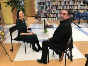 Aktroė, rašytoja Birutė Mar ir Meno bangų vadovas Marius Kraptavičius. Vytauto Lekavičiaus nuotrauka