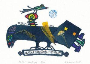 Kelmenso Kupriūno ekslibris poetui Vladui Braziūnui. Iš parodos, skirtos Alfonso Nykos Nilūno 100-osioms metinėms