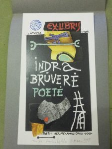 Klemenso Kupriūno ekslibris poetei ir vertėjai Indrai Brūverei. Iš parodos, skirtos Alfondo Nykos-Niliūno 100-osioms metinėms