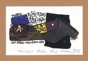 Klemenso Kupriūno ekslibris poetui Ričardui Šileikai. Iš parodos, skirtos Alfonso Nykos Niliūino 100-osioms metinėms